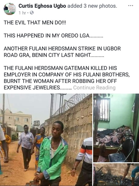 Gateman Burns His Employer To Death In Edo, Steals Her Jewelry \(Graphic Photos)